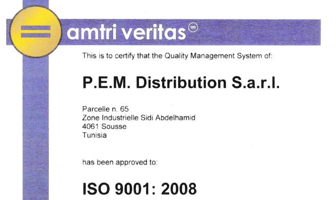 PEM DISTRIBUTION certifié ISO 9001